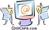 Vector Clip Art graphic  of a two men standing beside monitor