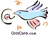 Vector Clipart graphic  of a bird with an @ symbol in its