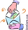 hands opening an envelope Vector Clipart illustration