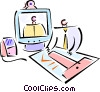 Vector Clipart picture  of a two businessmen working on a