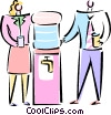 man and women standing at the water cooler Vector Clipart image