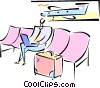 Vector Clip Art image  of a man waiting for a flight at