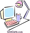 desktop computer Vector Clipart picture