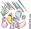 Vector Clipart picture  of a woman working at her home