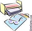 Vector Clip Art graphic  of a office desktop items