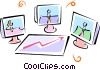 Vector Clipart picture  of a computer video meeting