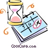 Vector Clip Art image  of a hourglass and calendar