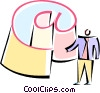 Vector Clipart illustration  of a man standing beside a large @