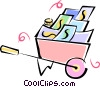 wheelbarrow full of money Vector Clip Art graphic