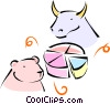 bull and bear market Vector Clipart graphic