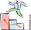 Vector Clip Art graphic  of a man jumping to success