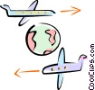 Vector Clipart image  of a planes flying around the world