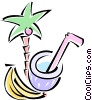 palm tree, bananas, and a coconut drink Vector Clip Art graphic