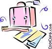 airline tickets, suitcase and toothbrush Vector Clip Art image