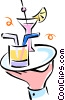 cocktails on a tray being served Vector Clipart picture