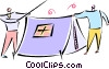 two men putting up a tent Vector Clip Art image