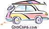 sport utility vehicle with windsurfer on roof Vector Clipart graphic