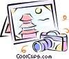 camera and a picture of an Asian temple Vector Clipart graphic