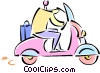 man riding a scooter Vector Clip Art image