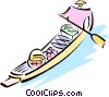 Asian man paddling a gondola Vector Clipart illustration