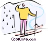 downhill skier Vector Clip Art graphic