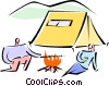 Vector Clipart image  of a sitting around the campfire