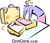 Vector Clip Art graphic  of a woman packing her suitcase
