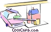 car at a toll booth Vector Clipart illustration
