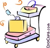 Vector Clip Art image  of a luggage on a cart