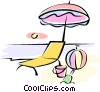 beach scene Vector Clip Art picture