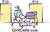 Vector Clip Art graphic  of a maid service at a hotel