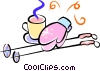 winter mitts, hot chocolate and ski poles Vector Clipart picture
