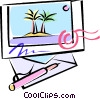 Vector Clipart picture  of a island postcard