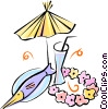 drink, seafood platter, lei and cocktail umbrella Vector Clip Art picture