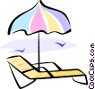 Vector Clipart image  of a beach chair and umbrella
