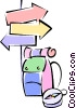 Vector Clip Art graphic  of a signpost with a knapsack