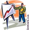 businessman pointing at a sales chart Vector Clip Art picture