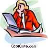Vector Clipart image  of a businesswoman reading a