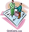 Vector Clip Art graphic  of a two businessmen agreeing to a