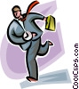 businessman running late Vector Clip Art picture
