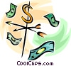 weather vane with dollar bills all around it Vector Clipart illustration