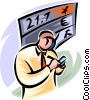 stockbroker working the floor Vector Clip Art image