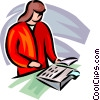 Vector Clip Art graphic  of a businesswoman working with a