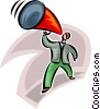 Vector Clipart image  of a businessman using a megaphone