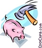 Vector Clipart graphic  of a hammer and a piggy bank