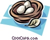 eggs in a nest Vector Clipart illustration