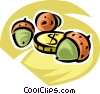 Vector Clip Art image  of a golden coin with acorns