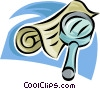 Vector Clip Art image  of a magnifying glass and newspaper
