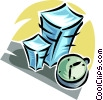 stack of paperwork and a clock Vector Clipart illustration