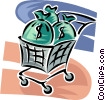 bags of money in a shopping cart Vector Clipart image